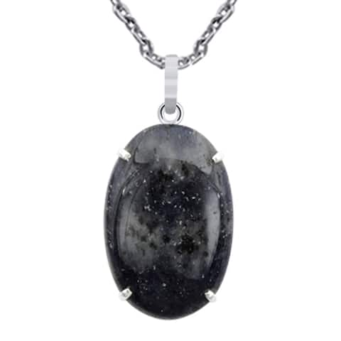 Sodalite Sterling Silver Oval Chain Pendant by Orchid Jewelry
