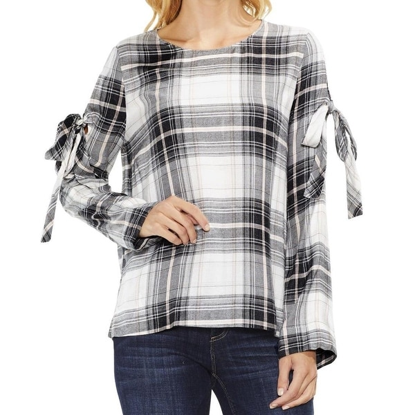 Two By Vince Camuto Gray Womens Size XL Tie Sleeve Plaid Blouse