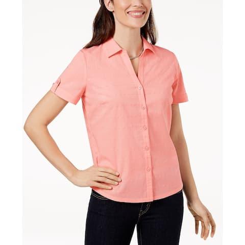 Karen Scott Women's Cotton Shirt Coral Topaz Size Small - Pink