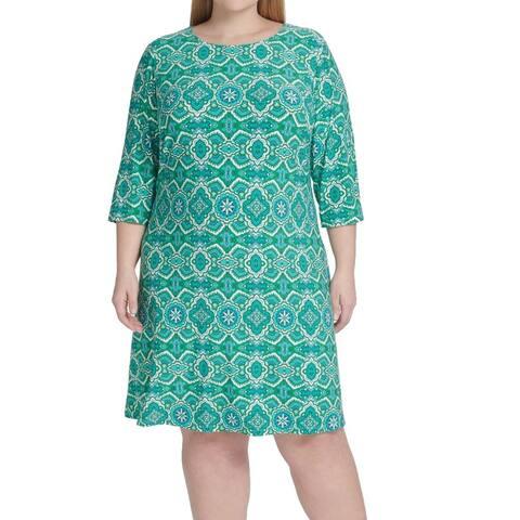 Tommy Hilfiger Women's Dress Green Size 20W Plus Shift Mandella Print