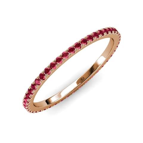 TriJewels Ruby 3/4 ctw French Set Women Eternity Ring 14K Gold