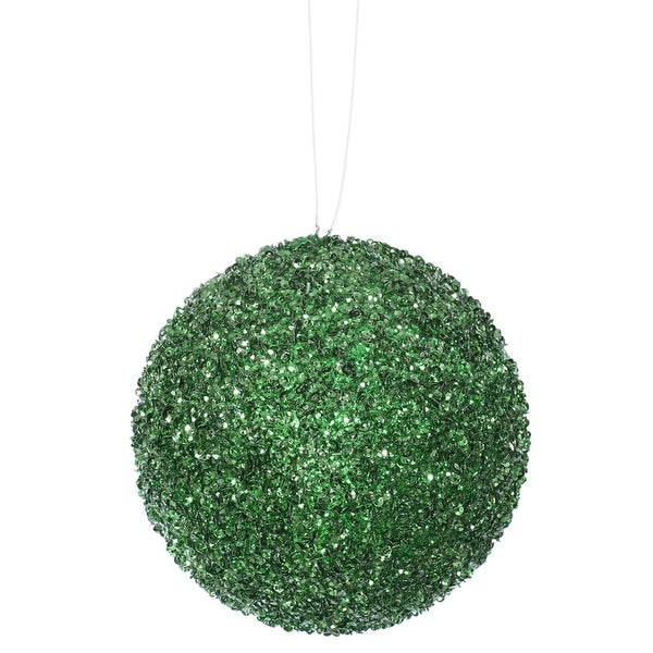 "3ct Emerald Green Sequin and Glitter Drenched Christmas Ball Ornaments 4.75"" (120mm)"