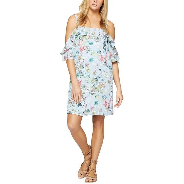 Sanctuary Womens Primrose Cold-Shoulder Floral-Print Dress Large Bluebell