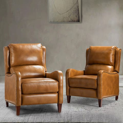 Brigida Genuine Leather Recliner with Nailhead Trim,Set of 2