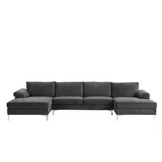 Modern XL Velvet Upholstery U-shaped Sectional Sofa