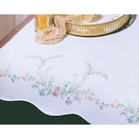 "Reflections - Stamped White Dresser Scarf For Embroidery 14""X39"""