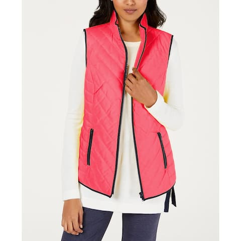 Charter Club Women's Contrast-Trim Zip-Front Vest Pink Size Extra Large - X-Large