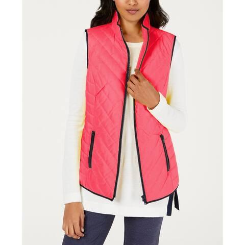 Charter Club Women's Contrast-Trim Zip-Front Vest Pink Size Medium