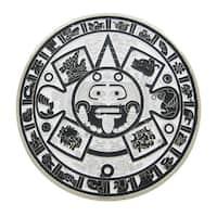 Black / White Enamel Aztec Sun Calendar Belt Buckle