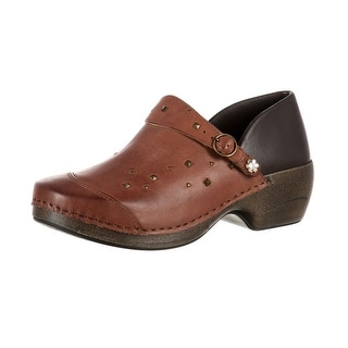 4EurSole Work Shoes Womens Studded Leather Clog Brown RKYH041