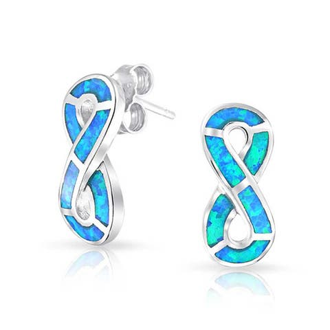 Blue Created Opal Inlay Eternity Infinity Sign Stud Earrings For Women 925 Sterling Silver 19 mm October Birthstone