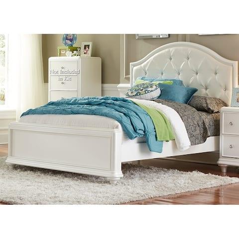 Stardust Iridescent White Panel Bed
