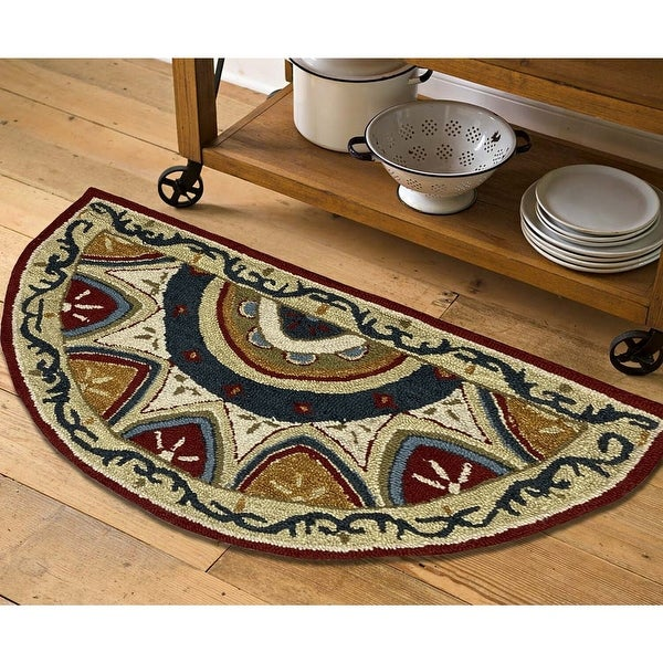 Geometric Bordered and Floral Medallion Rug. Opens flyout.