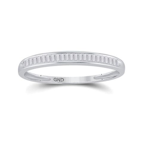 Sterling Silver Womens Baguette Diamond Wedding Anniversary Band Ring ( 1/6 Cttw ,I2-I3 Clarity ,G-H Color)