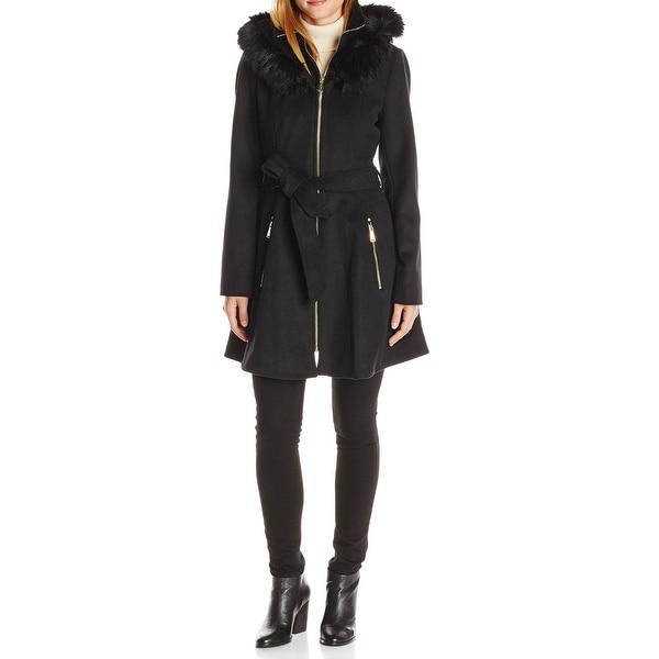 Laundry by Shelli Segal Black Womens Size Medium M Hooded Coat