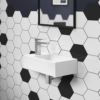 Link to Voltaire Rectangular Ceramic Wall Hung Sink With Left Side Faucet Mount Similar Items in Sinks