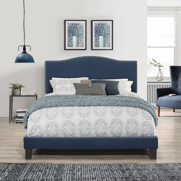 Porch & Den Olney Blue Velvet Upholstered Bed. Opens flyout.