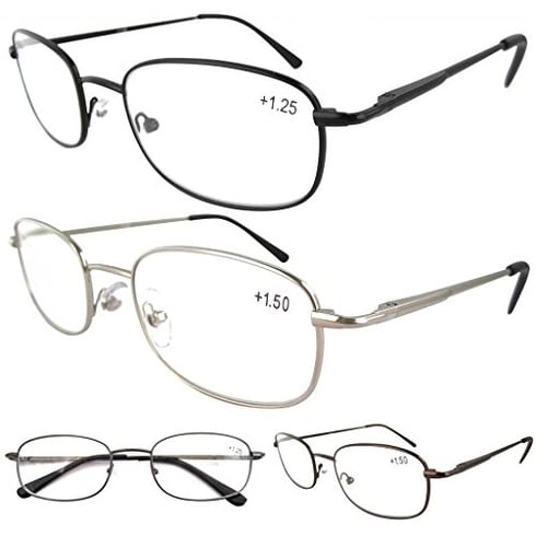 Eyekepper Metal Frame Spring Hinged Arms Reading Glasses 4 Pairs(1 Pair of per Color) +3.0