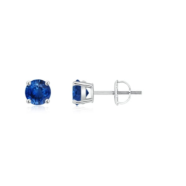 Angara Classic Basket-Set Square Blue Sapphire Stud Earrings in White Gold idNM1PMib