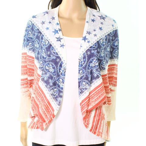 Moa Moa Cream White Womens Size Small S Mix-Print Cardigan Sweater