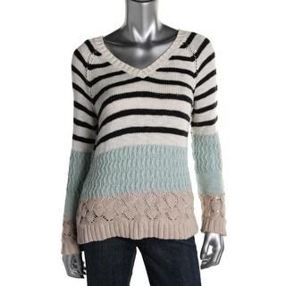 Sanctuary Womens Crochet Colorblock V-Neck Sweater - S