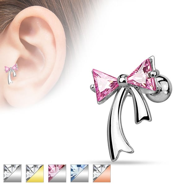 Triangle CZ Ribbon 316L Surgical Steel Cartilage/Tragus Bar (Sold Individually)