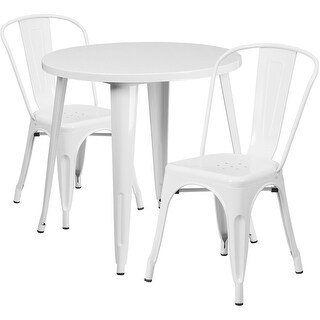 Brimmes 3pcs Round 30'' White Metal Table w/2 Cafe Chairs
