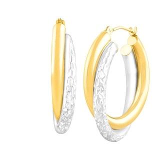 Dual Crystal-Cut Hoop Earrings in 14K Gold-Bonded Sterling Silver - Two-tone
