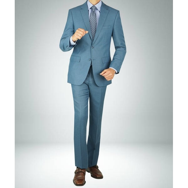 Carlo Studio Sharkskin Blue Modern-Fit Suit. Opens flyout.
