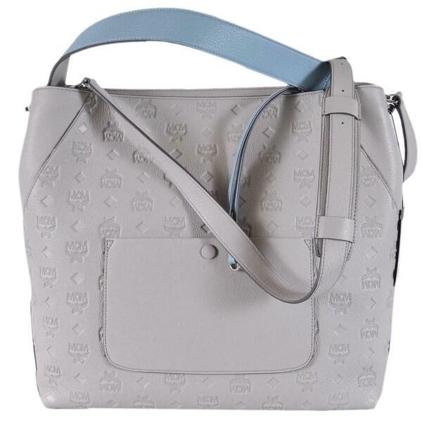 e3e5f31e884 MCM Women  x27 s Dove Grey Leather Visetos KLARA Large Purse Handbag Hobo
