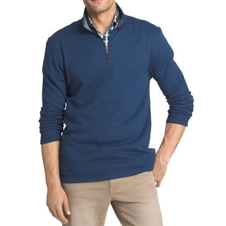 IZOD NEW Blue Mens Size XL Quarter Zip Pullover Textured Sweater