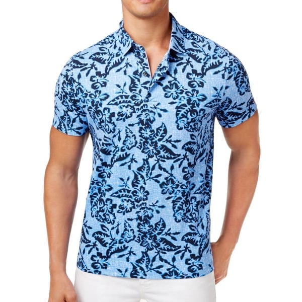 4db8428e8b56 Shop Tommy Hilfiger Navy Blue Mens Size 2XL Custom Fit Hawaiian Shirt - Free  Shipping On Orders Over $45 - Overstock - 22022543