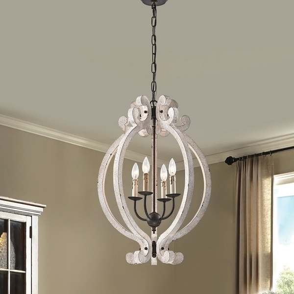 Off White Distressed Wood and Antique Bronze 4-Light Farmhouse Chandelier. Opens flyout.