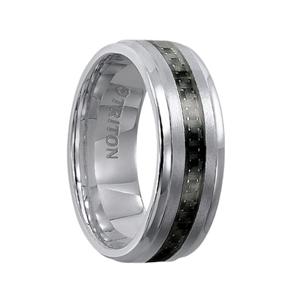 GABRIEL Polished Step Edge Tungsten Band with Raised Brushed Center and Black Carbon Fiber Inlay by Triton Rings - 8 mm