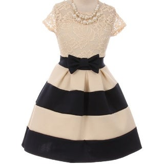 Flower Girl Dress Stripe Pattern Lace Bodice with Necklace Navy JKS 2016 (Option: 4)