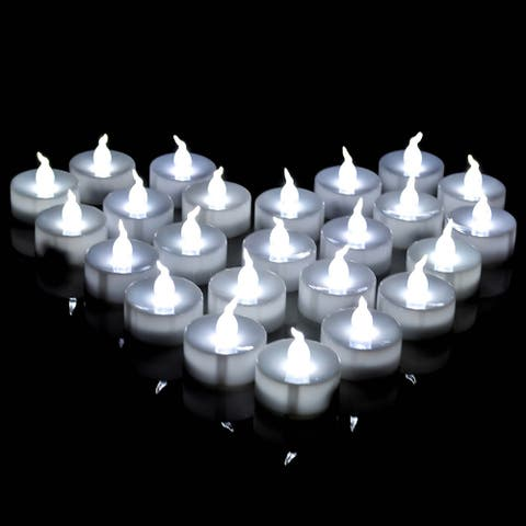 AGPtek Lot 24 Battery Operated LED Cool White Tea Light Candle Flashing For Festival Occasions - M