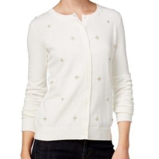 Tommy Hilfiger NEW White Women's Medium M Cardigan Embellished Sweater