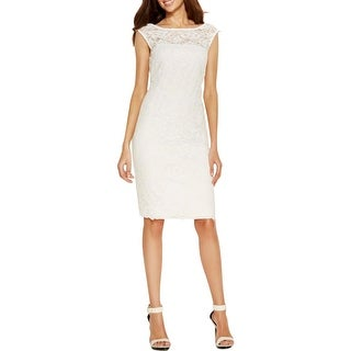 Calvin Klein Womens Petites Cocktail Dress Lace Cap Sleeves