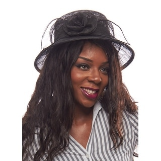 Lilting Lillian Sinamay Derby Hat with Rosebud Accent