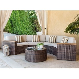 Link to Nuon Outdoor 5-piece Round Wicker Sectional Sofa Set by Havenside Home Similar Items in Outdoor Ottomans