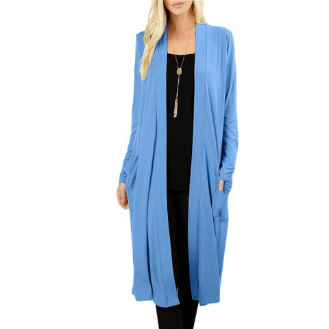 NE PEOPLE Womens Classic Long Sleeve Knee Length Side Pockets Cardigan