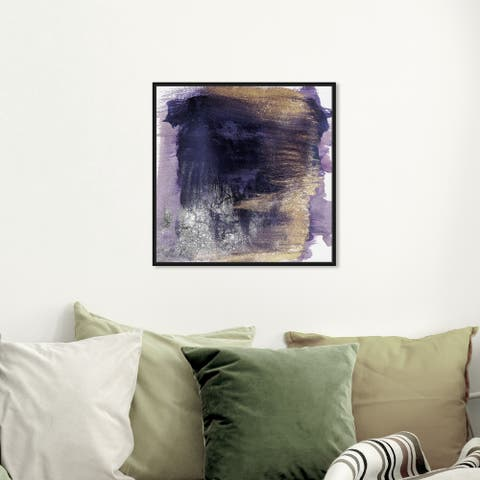 Oliver Gal Abstract Wall Art Framed Canvas Prints 'Cressida Amethyst' Watercolor - Purple, Purple