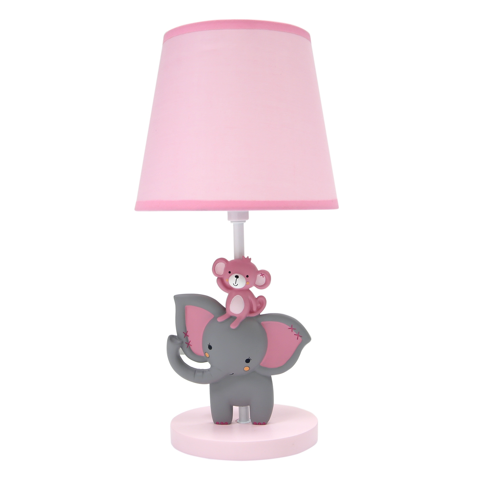 Bedtime Originals Le Toes Pink Gray Elephant With Monkey Nursery Lamp Shade Bulb
