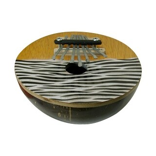Hand Painted Zebra Striped Natural Coconut Karimba Mbira Thumb Piano