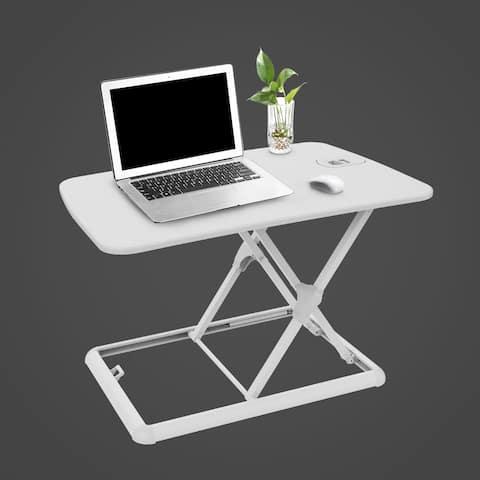 "FlexiSpot ML1W Laptop Desk Riser - Portable Sturdy Aluminum Frame 26"" Standing Desk for Laptop (White, No Assembly Required)"