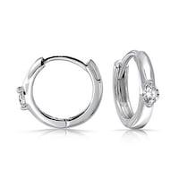 ea3fcb772 Round Cubic Zirconia Solitaire Accent CZ Small Kpop Huggie Hoop Earrings  For Women For Men 925