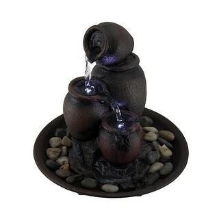 Terra Cotta Cascade Rustic Flower Pots Endless Waterfall LED Tabletop Fountain