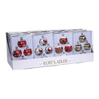 Club Pack of 12 Red and Silver Color Christmas Glass Ball Ornaments 2.6""