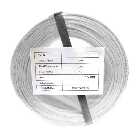 Offex Security and Alarm Wire, White, 22/2 (22AWG 2 Conductor), Solid, CMR / Inwall Rated, Coil Pack, 500 Feet