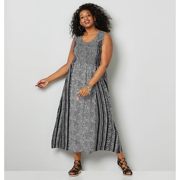 001d310672398 AVENUE Women's Tribal Print Shirred Maxi Dress - Black White
